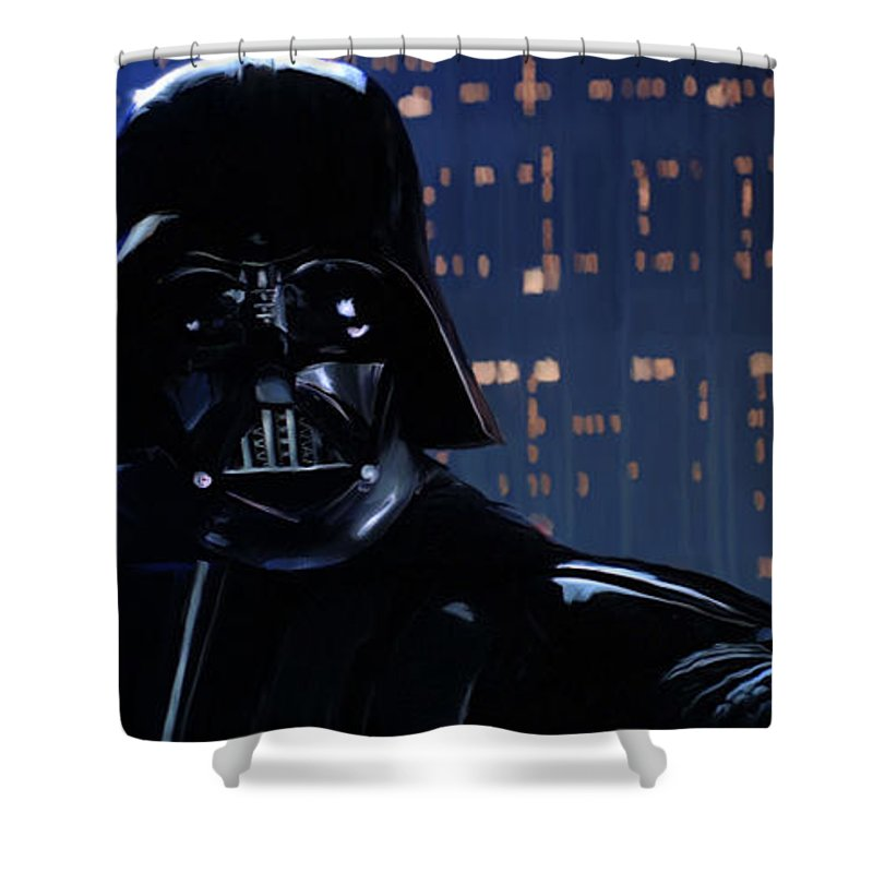 Empire Shower Curtain featuring the painting Darth Vader by Paul Tagliamonte