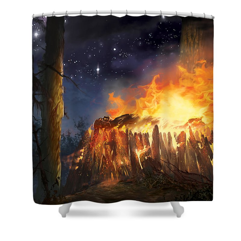 Star Wars Shower Curtain Featuring The Digital Art Darth Vaders Funeral Pyre By Ryan Barger