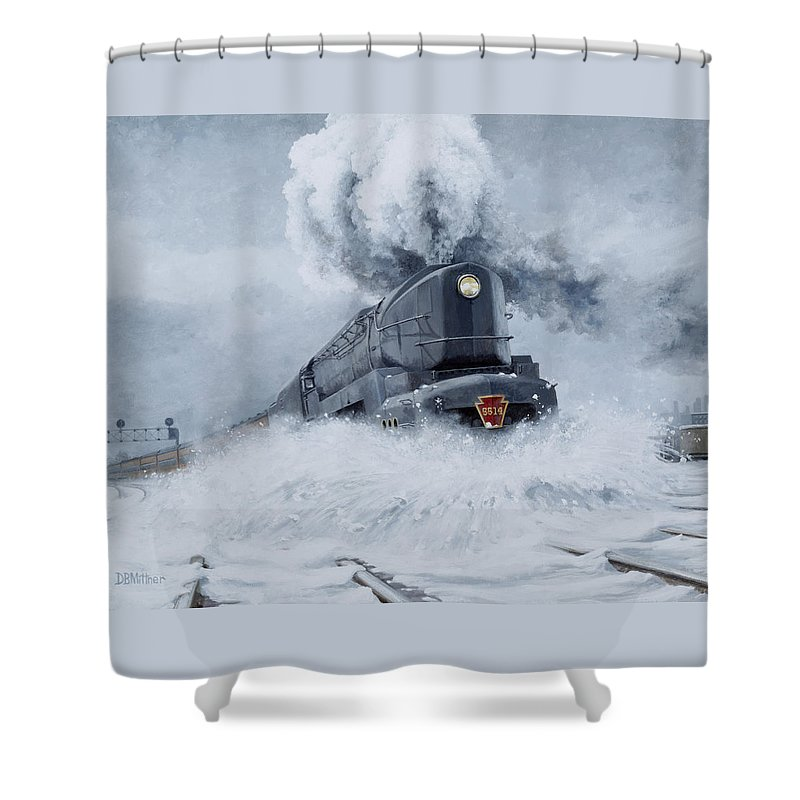 Trains Shower Curtain featuring the painting Dashing Through The Snow by David Mittner