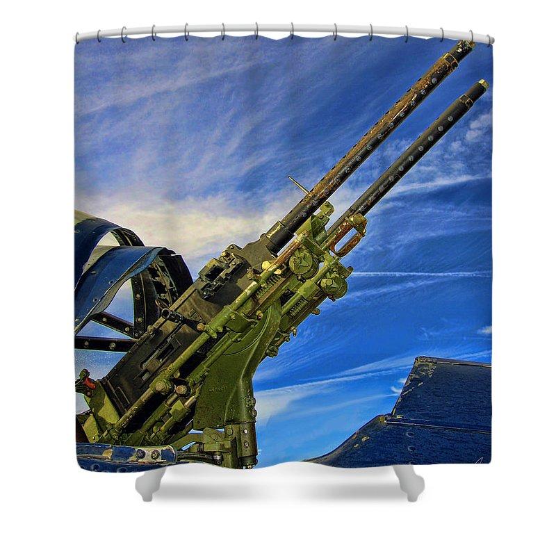Tail Gun Shower Curtain featuring the photograph Dauntless Tail Gun by Dale Jackson