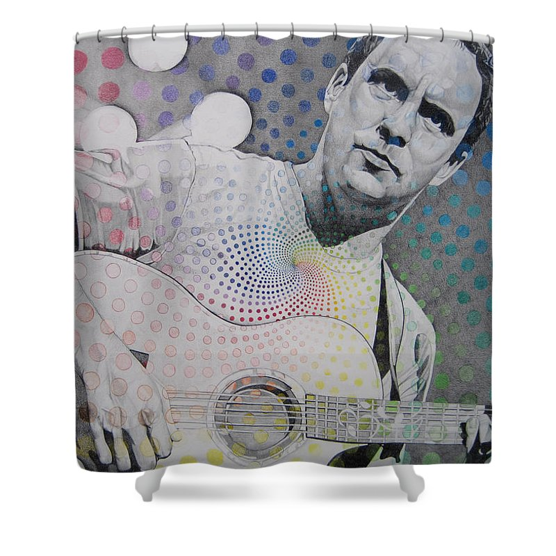 Dave Matthews Shower Curtain featuring the drawing Dave Matthews All The Colors Mix Together by Joshua Morton