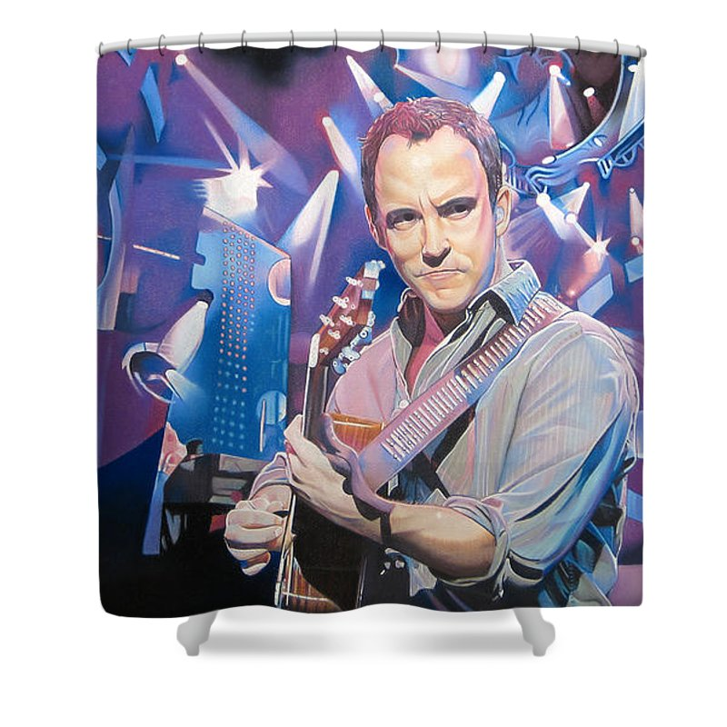 Dave Matthews Shower Curtain featuring the drawing Dave Matthews And 2007 Lights by Joshua Morton