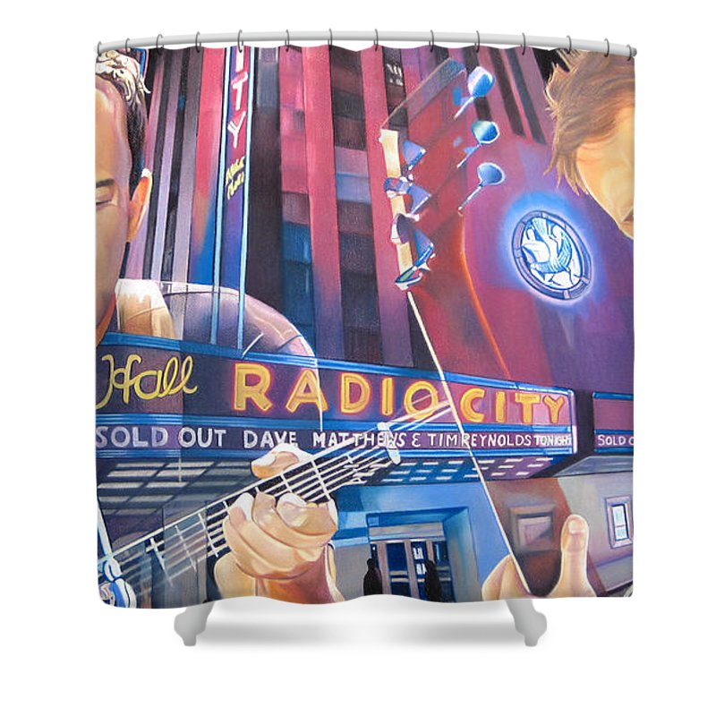Dave Matthews Shower Curtain featuring the drawing Dave Matthews And Tim Reynolds Live At Radio City by Joshua Morton