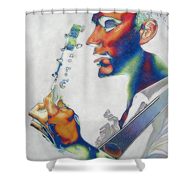 Dave Matthews Shower Curtain featuring the drawing Dave Matthews by Joshua Morton
