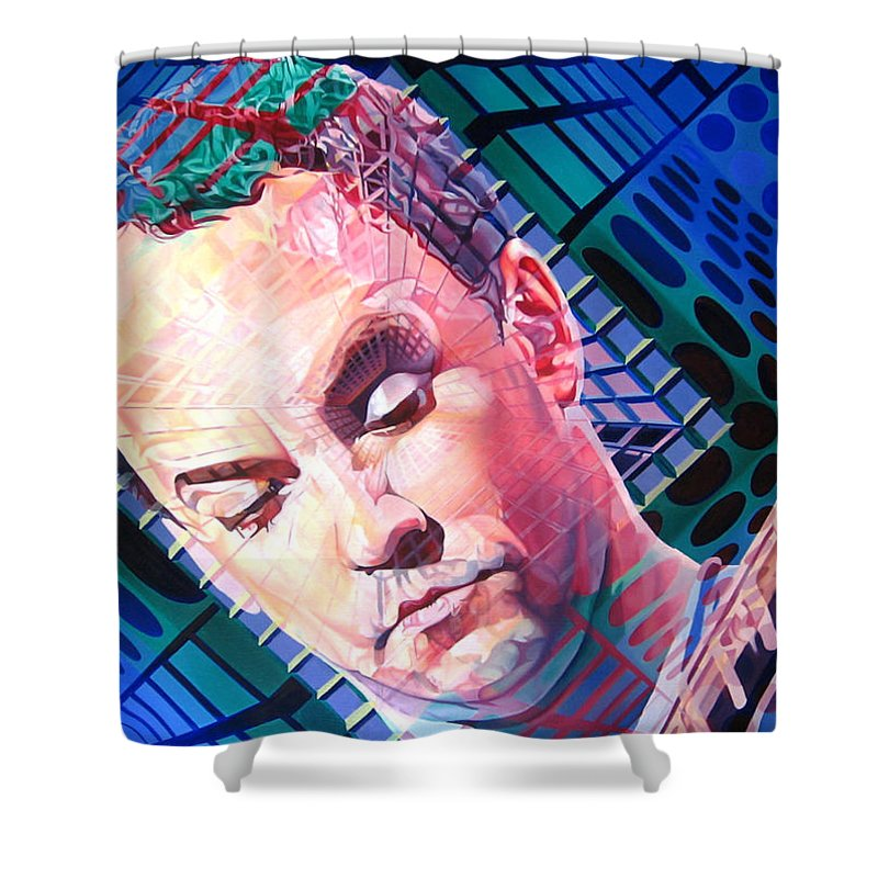 Dave Matthews Shower Curtain featuring the painting Dave Matthews Open Up My Head by Joshua Morton