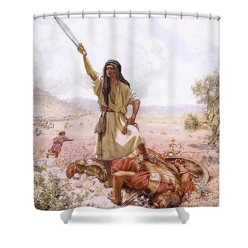Bible Shower Curtain featuring the painting David And Goliath by William Brassey Hole