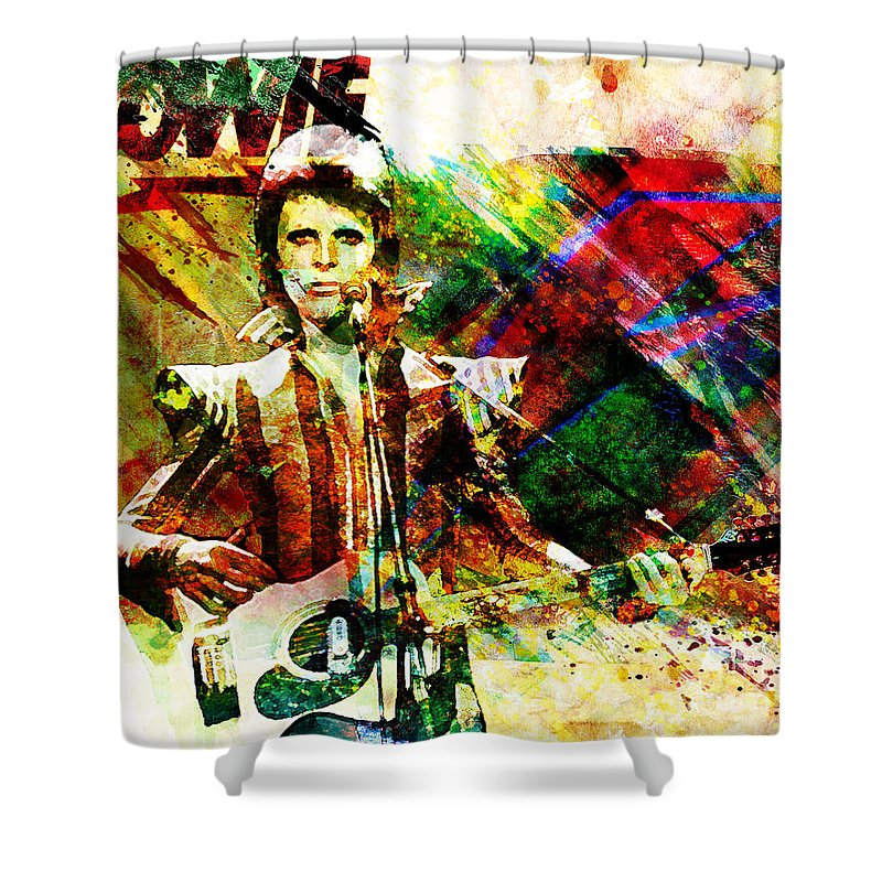 Rock N Roll Shower Curtain featuring the painting David Bowie Original Painting Print by Ryan Rock Artist