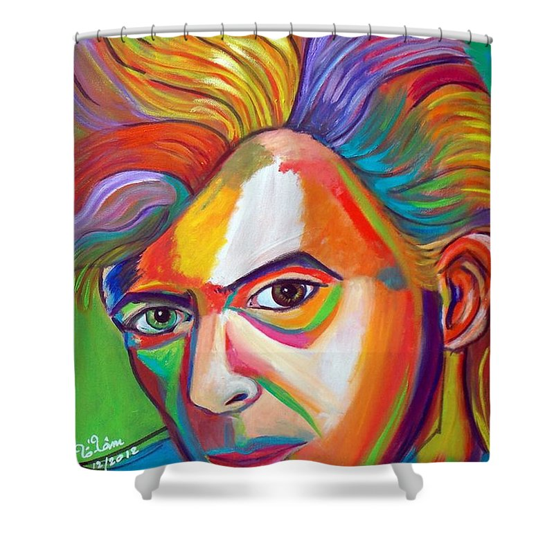 David Bowie Shower Curtain featuring the painting David Bowie by To-Tam Gerwe