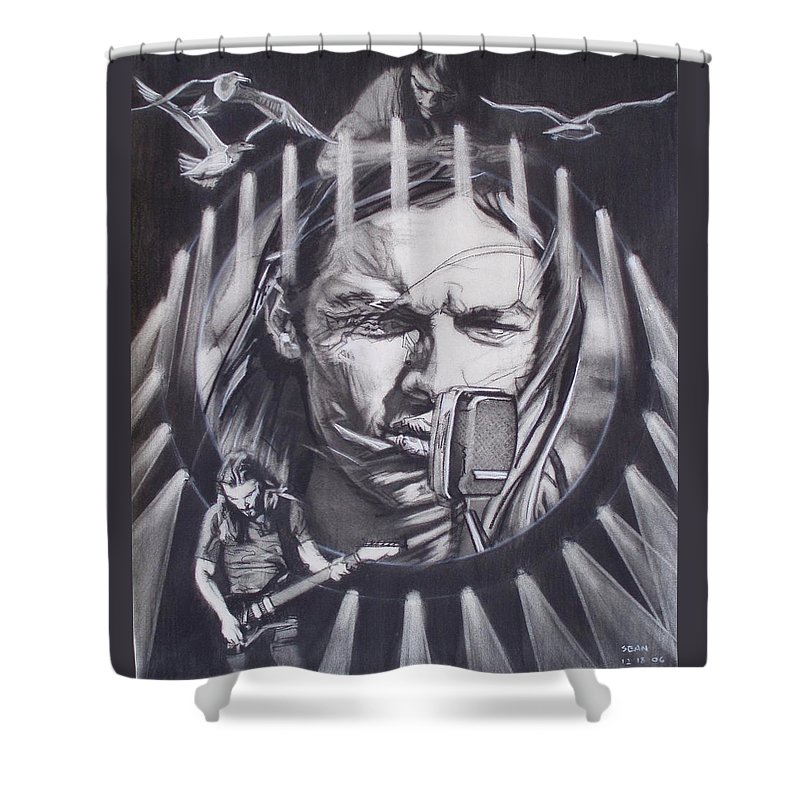 Charcoal On Paper Shower Curtain featuring the drawing David Gilmour Of Pink Floyd - Echoes by Sean Connolly