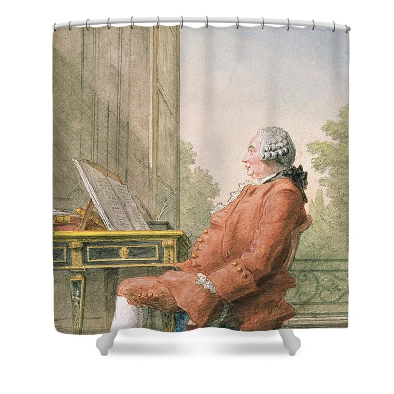 Portrait Shower Curtain Featuring The Photograph David Hume 1711 76 Pencil Chalk And Wc