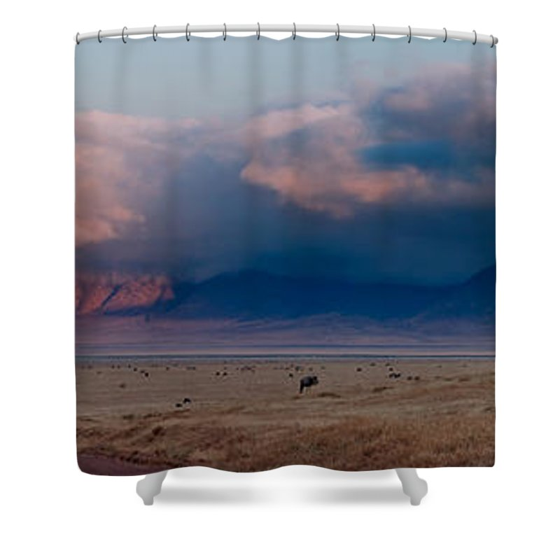 3scape Shower Curtain featuring the photograph Dawn In Ngorongoro Crater by Adam Romanowicz