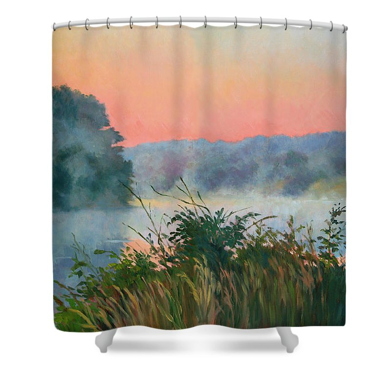 Impressionism Shower Curtain featuring the painting Dawn Reflection by Keith Burgess