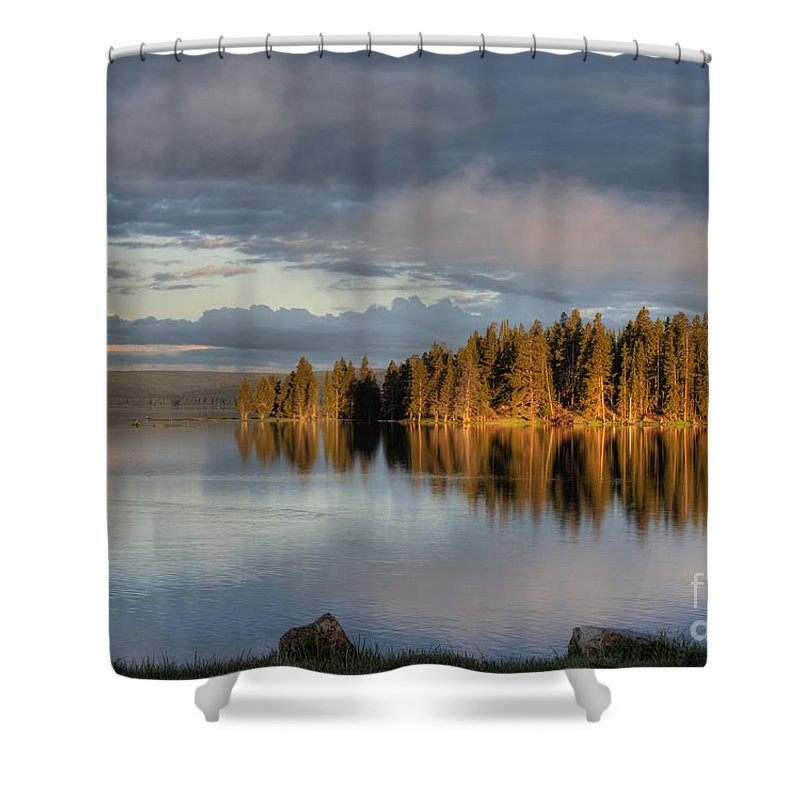 Hdr Shower Curtain featuring the photograph Dawn Reflections On Pelican Bay by Sandra Bronstein