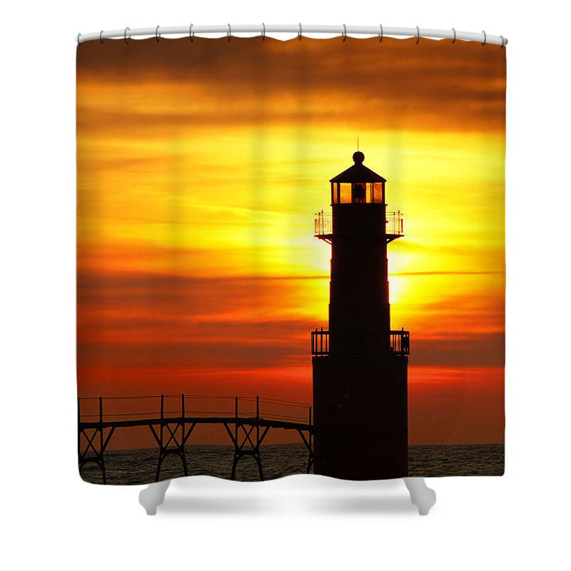 Lighthouse Shower Curtain featuring the photograph Dawn's Brighter Light by Bill Pevlor