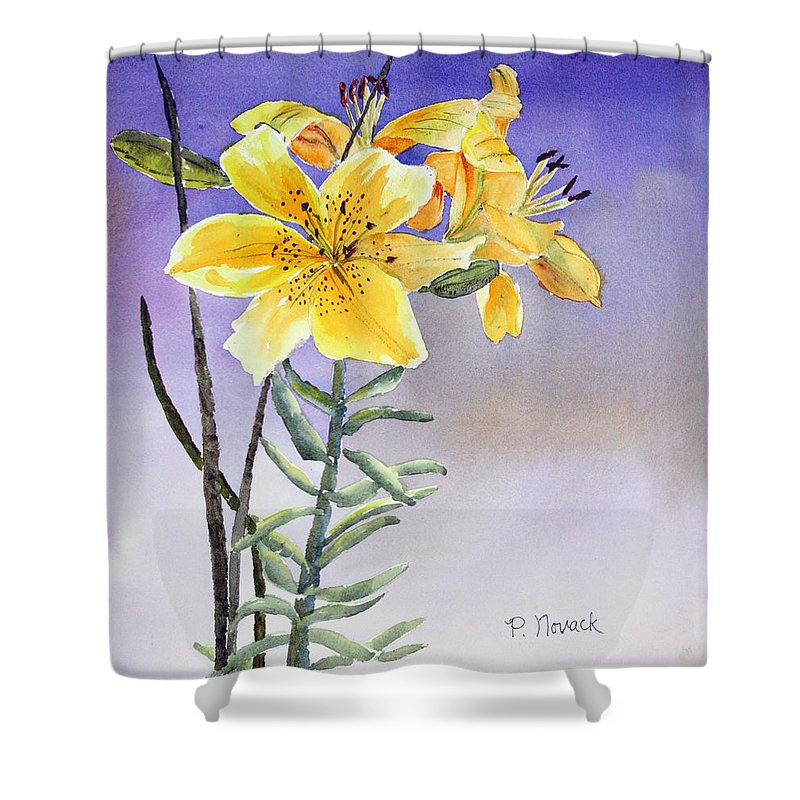 Lily Shower Curtain featuring the painting Daylilies by Patricia Novack