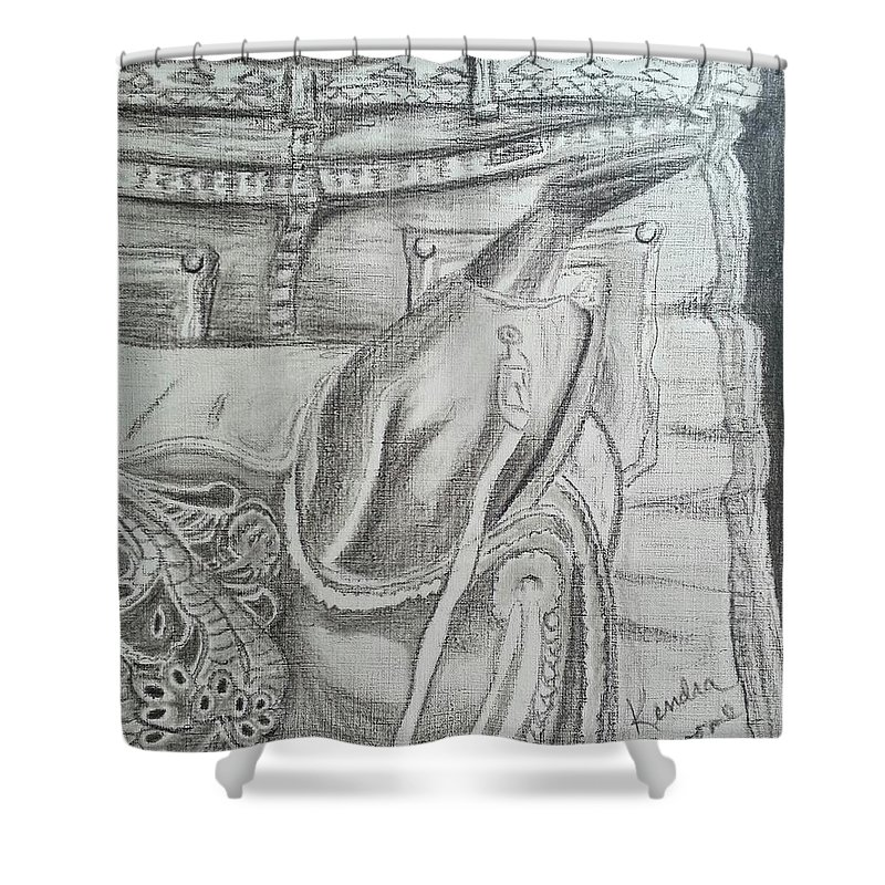 Saddle Shower Curtain featuring the drawing Days Done by Kendra DeBerry
