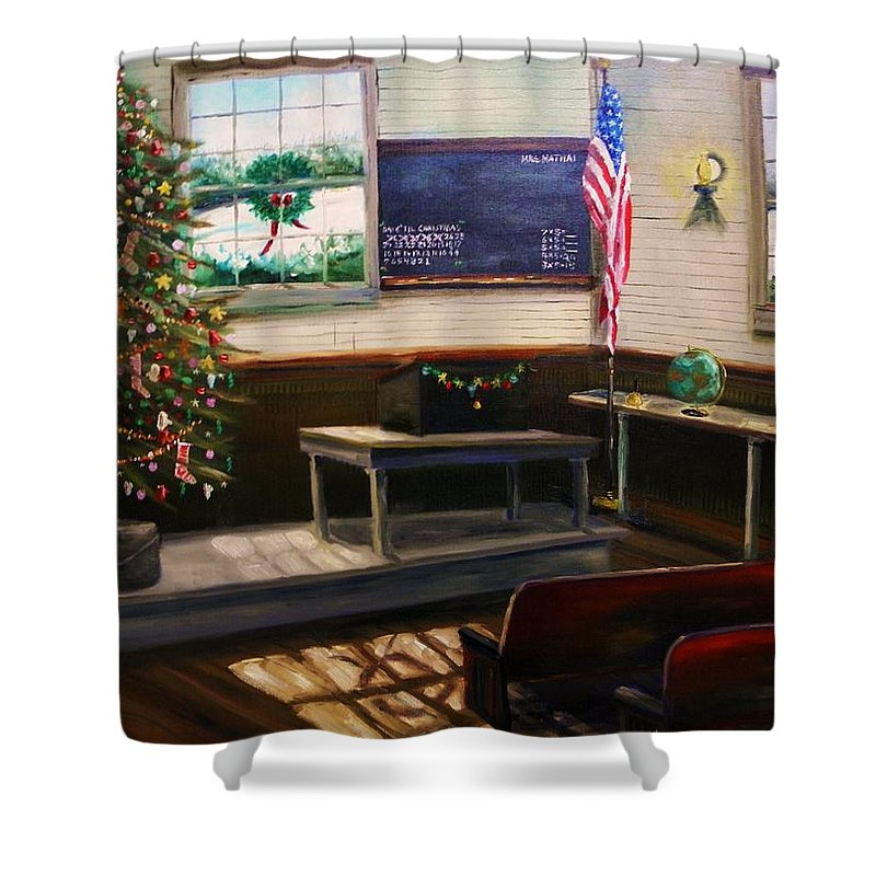Oil Shower Curtain featuring the painting Days Til Christmas by John Williams