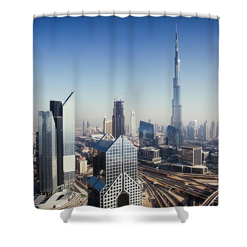 Downtown District Shower Curtain featuring the photograph Dbuai Sky Line With Traffic Junction by Tempura