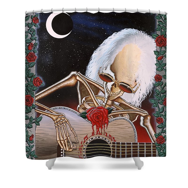 Grateful Dead Shower Curtain featuring the painting Dead Serenade by Gary Kroman