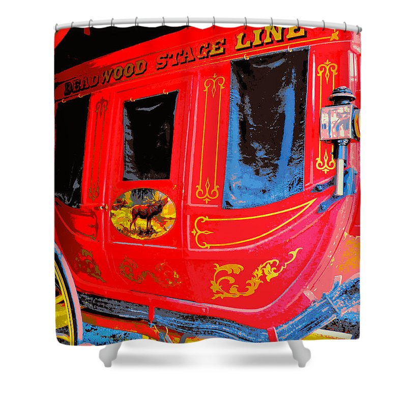 Stagecoach Shower Curtain featuring the photograph Deadwood Stagecoach by Jean Wright