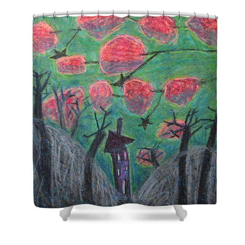 Brown Shower Curtain featuring the painting Death Tree by Nancy Mauerman
