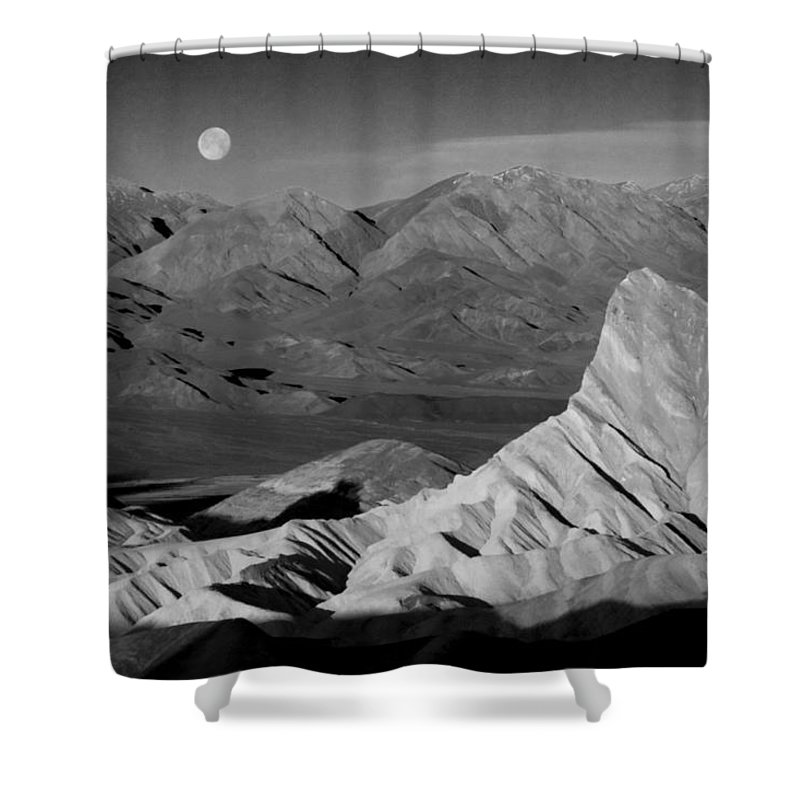 Death Valley Shower Curtain featuring the photograph Death Valley Zabriskie Point Bw Img 0525psd by Greg Kluempers