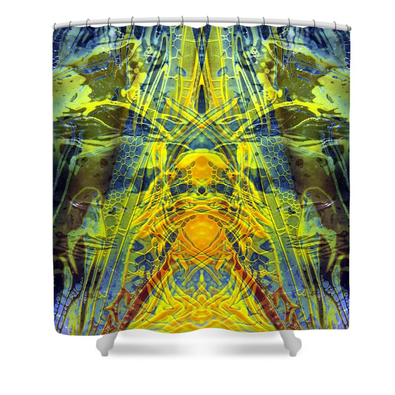 Surrealism Shower Curtain featuring the digital art Decalcomaniac Intersection 1 by Otto Rapp