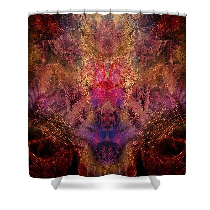 Digital Shower Curtain featuring the digital art Decalcomaniac Mirror by Otto Rapp