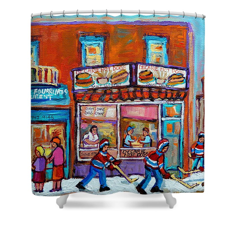 Montreal Shower Curtain featuring the painting Decarie Hot Dog Restaurant Ville St. Laurent Montreal by Carole Spandau