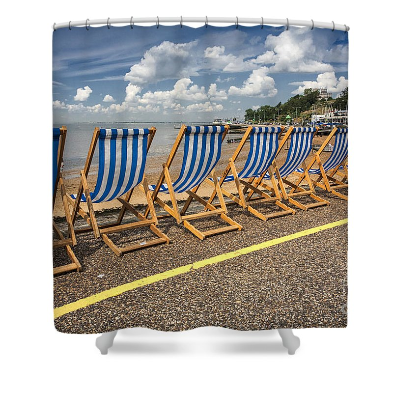 Empty Deckchairs Shower Curtain featuring the photograph Deckchairs at Southend by Sheila Smart Fine Art Photography