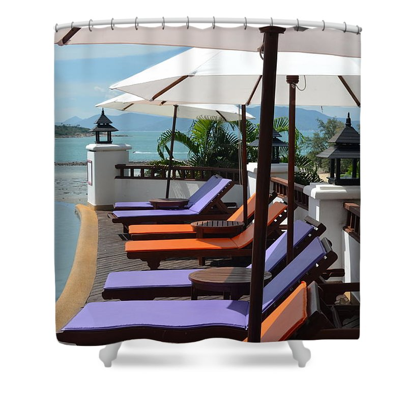 Michelle Meenawong Shower Curtain featuring the photograph Deckchairs by Michelle Meenawong