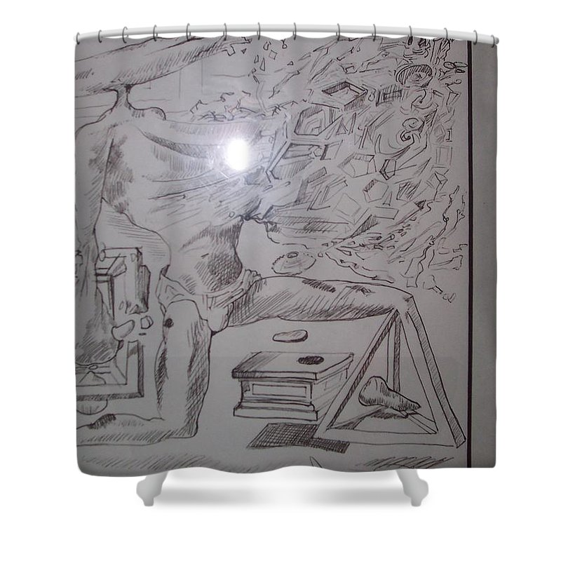 Shower Curtain featuring the painting Decomposition Of Kneeling Man by Jude Darrien