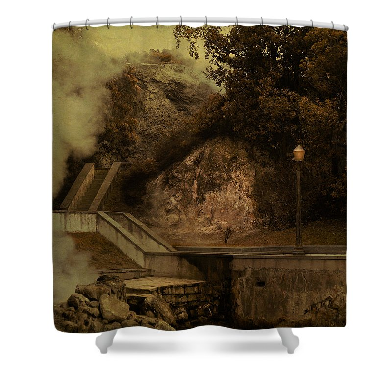 Smoke Shower Curtain featuring the digital art Deep Down There's Fire by Eduardo Tavares