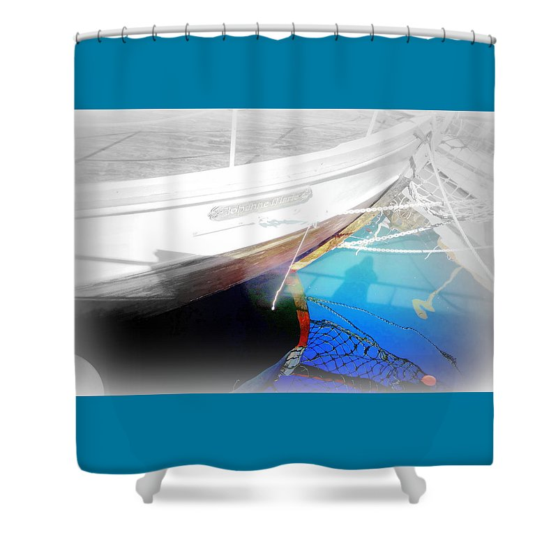 Boat Shower Curtain featuring the photograph Take Me Into The Big Deep Blue Water Of The Sea by Hilde Widerberg