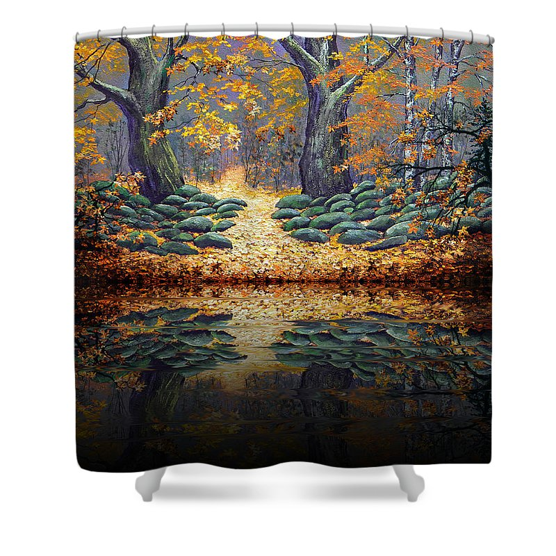 Pond Shower Curtain featuring the painting Deep Pond Reflections by Frank Wilson