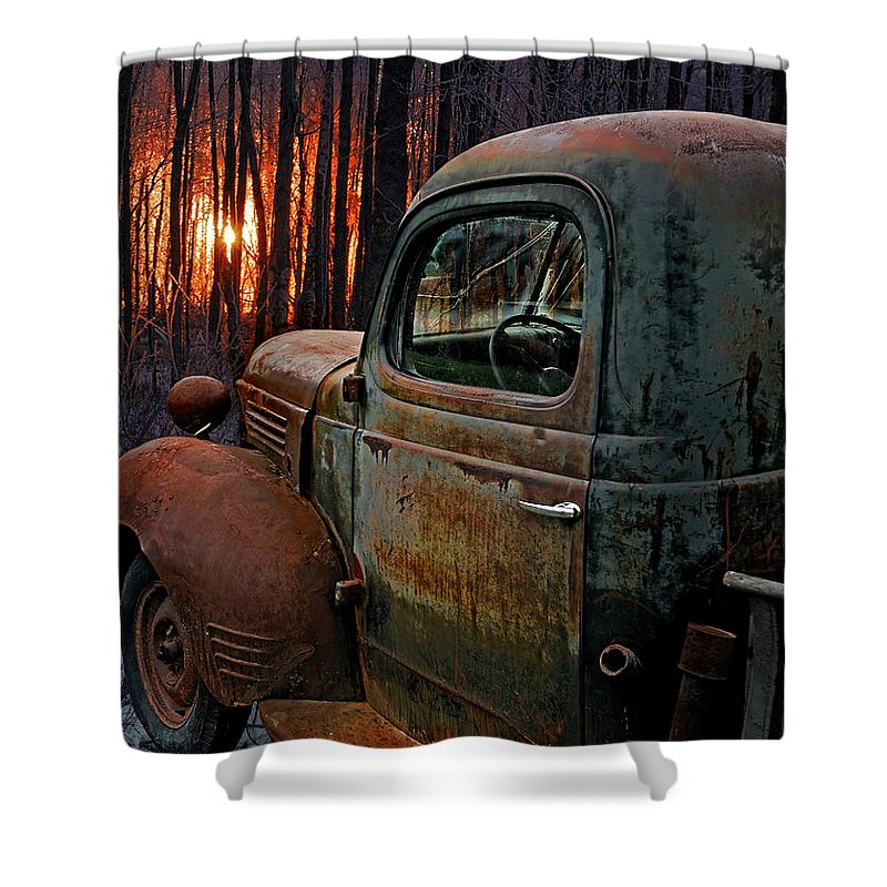 Pickup Shower Curtain featuring the photograph Deer Hunting by Ron Day