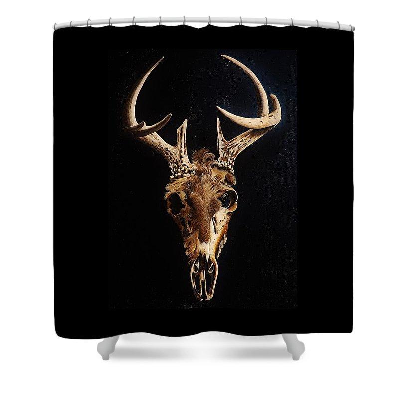 Deer Shower Curtain featuring the painting Deer Skull by Joy Bradley