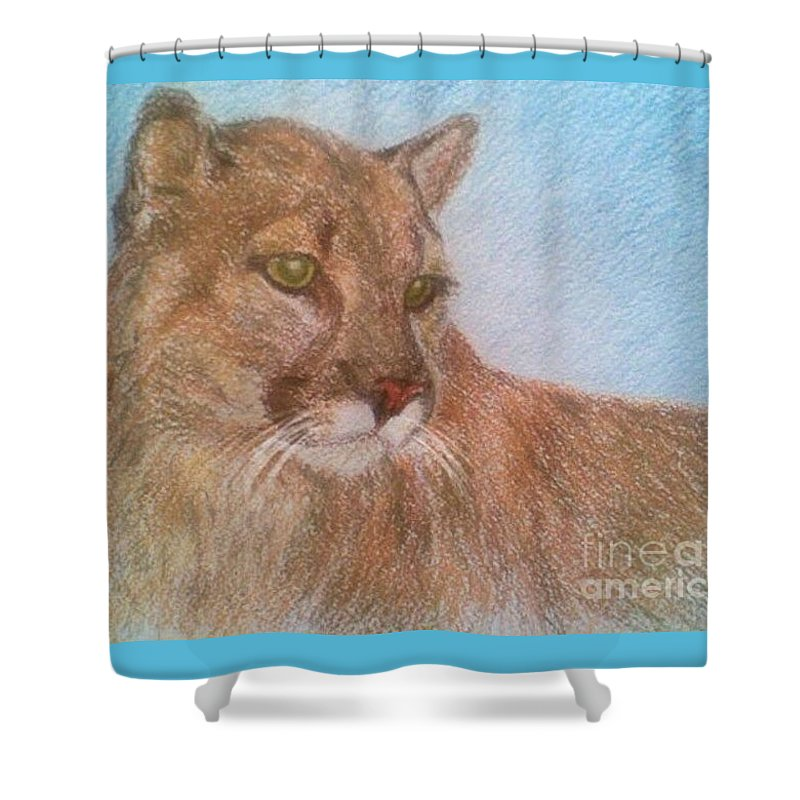 Deer Tiger Soft Pastel Drawing Paper Wild Cat Shower Curtain featuring the drawing Deer Tiger by Nadi Sabirova
