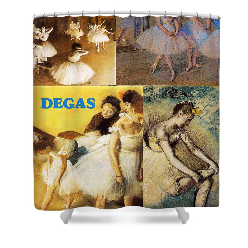 Collage Shower Curtain featuring the painting Degas Collage by Philip Ralley