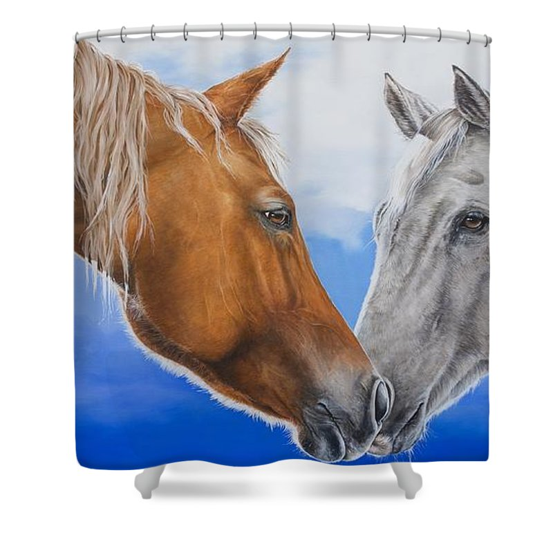 Horses Shower Curtain featuring the painting Deja Vu by Joni Beinborn