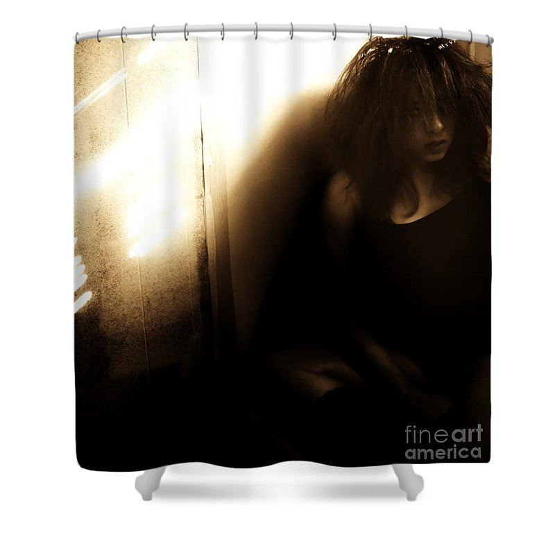 Brown Shower Curtain featuring the photograph Dejection by Jessica Shelton