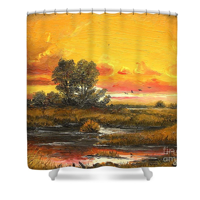 Sunset Shower Curtain featuring the painting Delta Sunset by Sorin Apostolescu