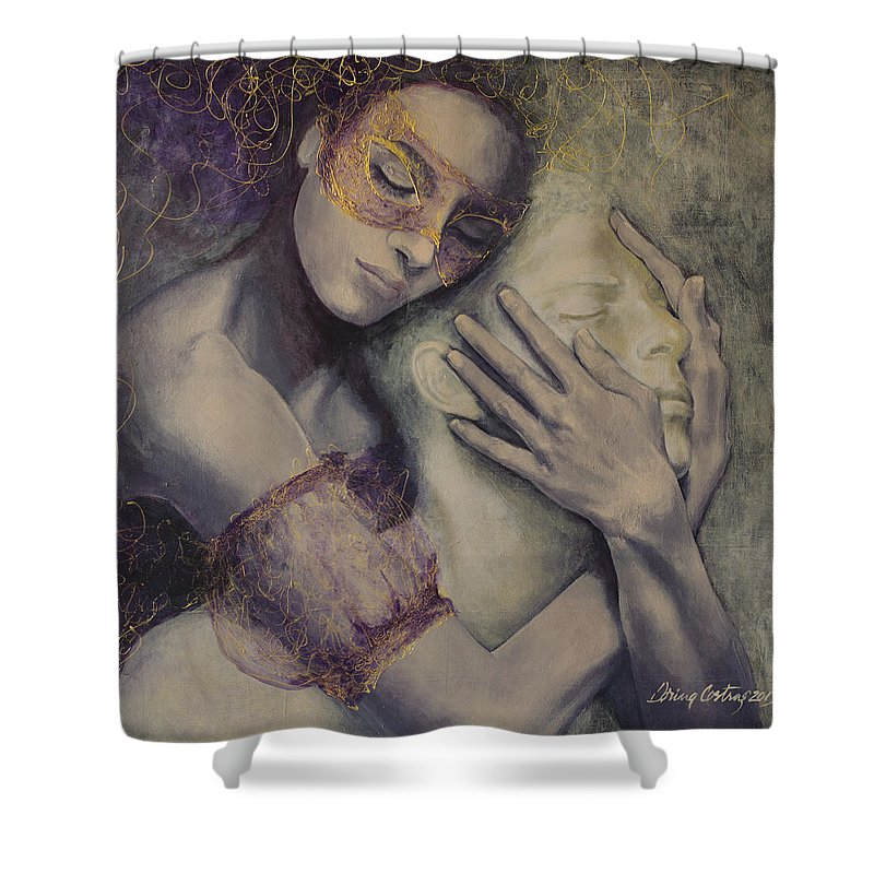 Fantasy Shower Curtain featuring the painting Delusion by Dorina Costras