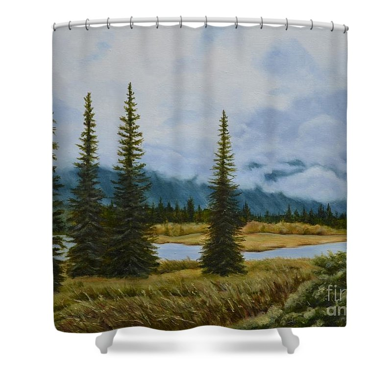 Usa Shower Curtain featuring the painting Denali Morning by Mary Rogers