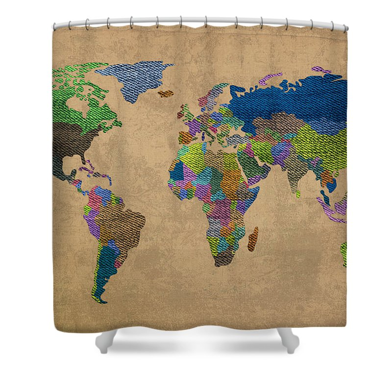 Denim Shower Curtain Featuring The Mixed Media Map Of World Jeans Texture On Worn