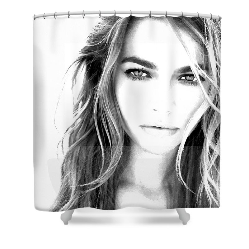 Denise Richards Brush Dots Dot Art Star Actress Actor Action Smart Sexy Sex Beautiful Beauty Hot Attractive Digital Photo Painting Shower Curtain featuring the painting Denise Double Texture by Dan Pagisun