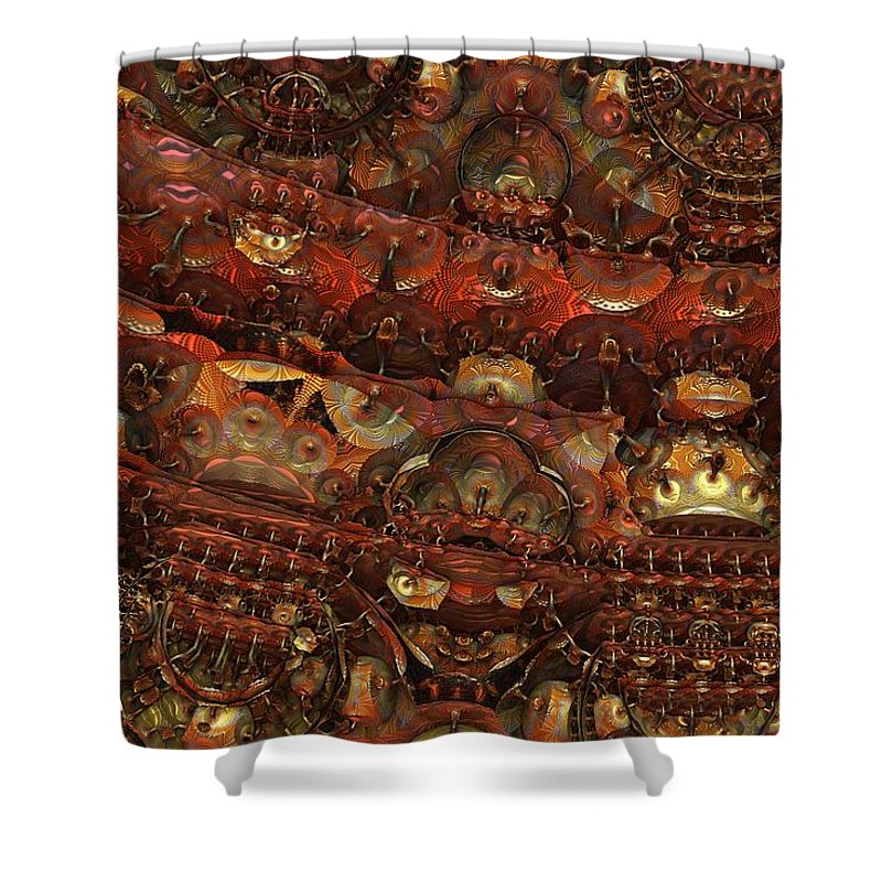 Fractal Hell Haedes Underworld Fantasy Imagination Abstract Detailed Intricate 3d Mandelbulb Shower Curtain featuring the digital art Dens Of Haedes by Lyle Hatch