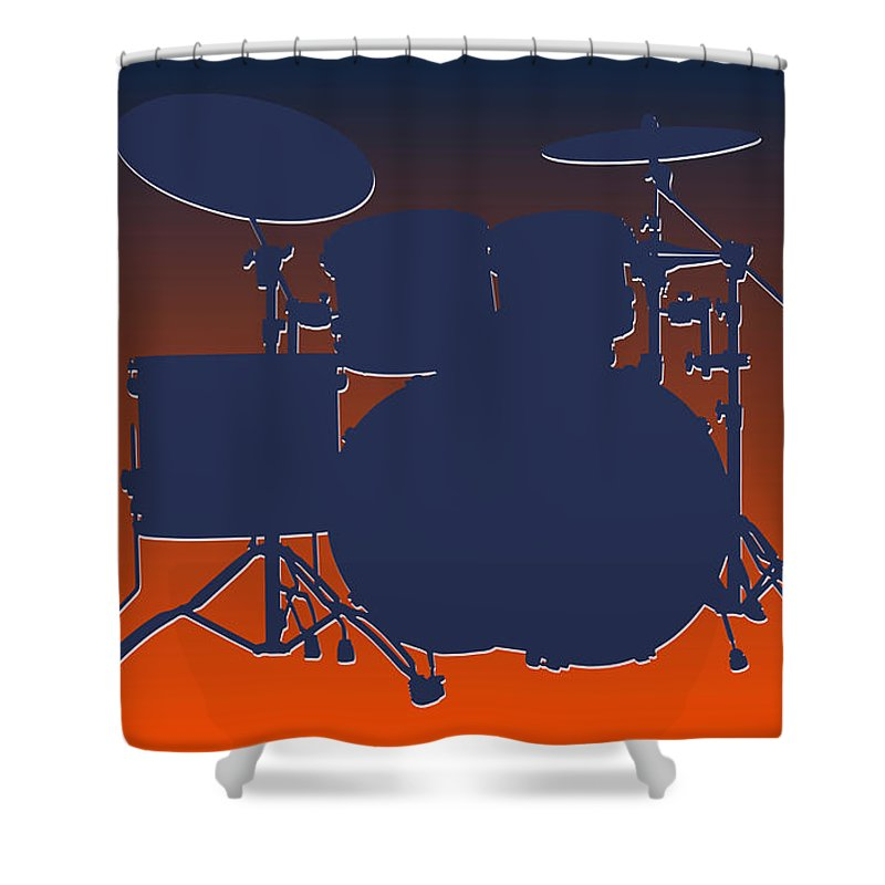 Broncos Shower Curtain Featuring The Photograph Denver Drum Set By Joe Hamilton