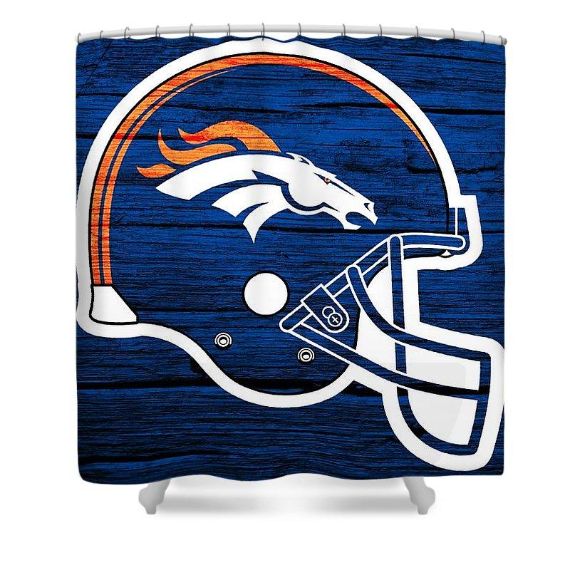 Denver Broncos Football Helmet On Worn Wood Shower Curtain Featuring The Digital Art