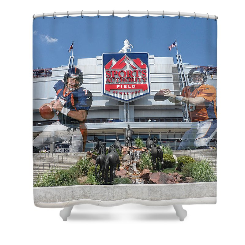 Broncos Shower Curtain featuring the photograph Denver Broncos Sports Authority Field by Joe Hamilton